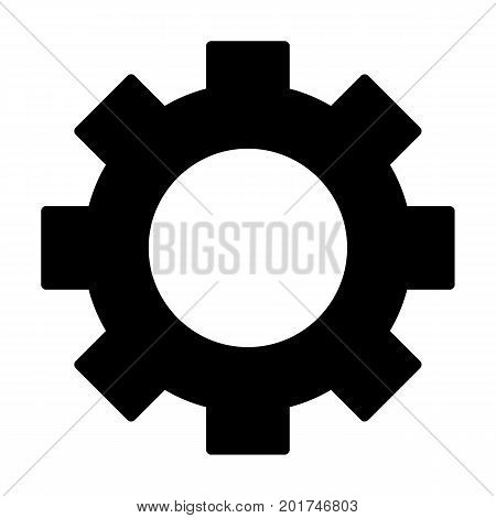 Gear wheel silhouette icon. Cog symbol. Vector pictogram in flat style