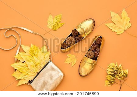 Autumn Arrives. Fall Fashion Glamour Lady Look.Trendy Gold Handbag Clutch. Fashion Stylish Glamour Shoes. Yellow Fall Leaves.