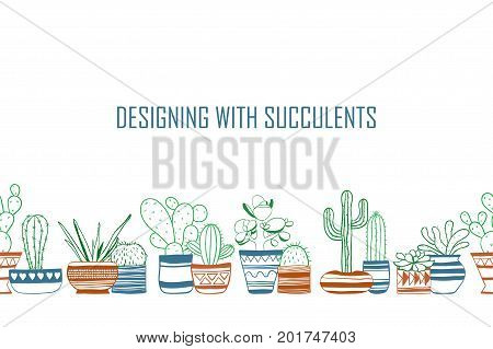 Seamless row of colored contour cacti . Vector