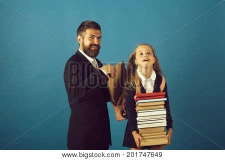 Girl In Uniform And Bearded Man. Kid And Tutor