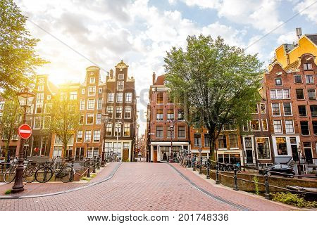 Morning view on the beautiful buildings on the red light district in Amsterdam