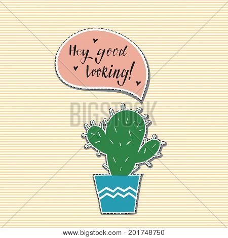 Hand drawn cactus patch with pink speech bubble. Vector illustration .