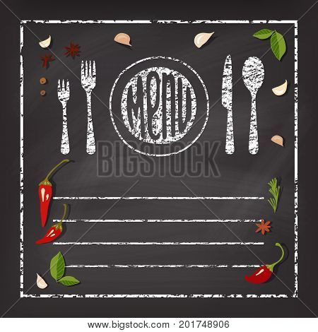 Inscription Menu on chalk board . Vector background with spice .