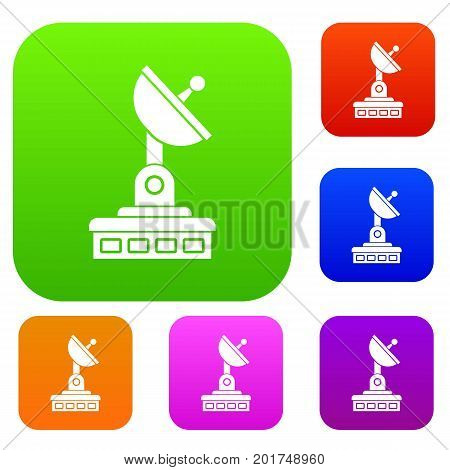 Satellite dish set icon in different colors isolated vector illustration. Premium collection