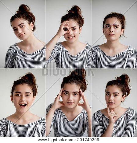 Collage of emotional girl on white background, Composite of positive and negative emotions with girl