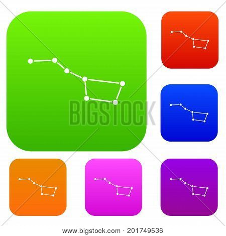 The Great Bear constellation set icon in different colors isolated vector illustration. Premium collection