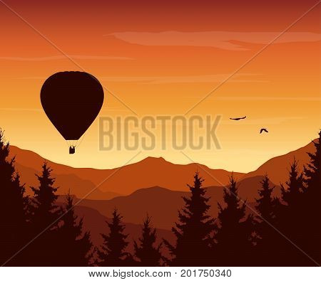 Vector illustration of mountain landscape with forest flying hot air balloon and birds of prey under an orange sky with rising sun