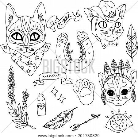 Set of wetern patches elements. Set of stickers, pins, patches and handwritten notes collection in cartoon 80s-90s comic style.Cats as a bandit, sheriff and Indians and other