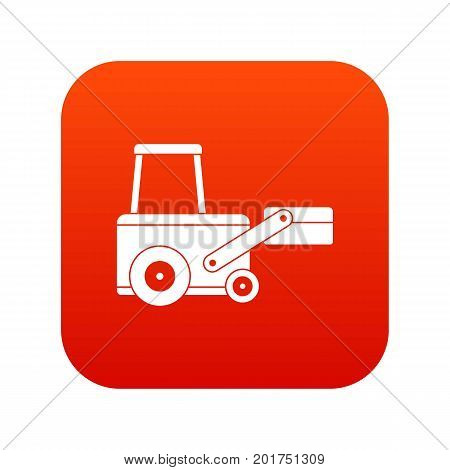 Truck to lift cargo icon digital red for any design isolated on white vector illustration