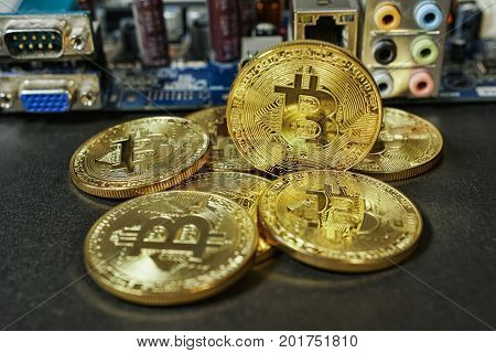 Cryptocurrency Gold Bitcoin - BTC - Bit Coin. Macro shots crypto currency Bitcoin coins.