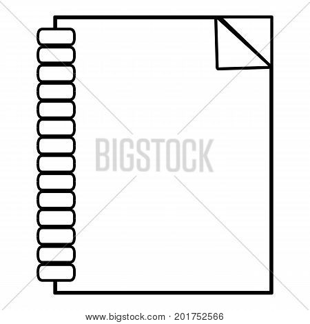 Notebook icon. Outline illustration of notebook vector icon for web