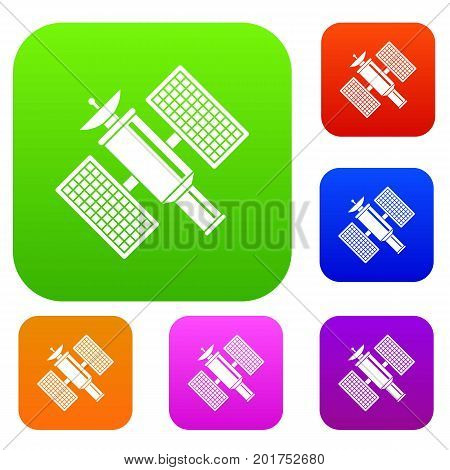 Space satellite set icon in different colors isolated vector illustration. Premium collection
