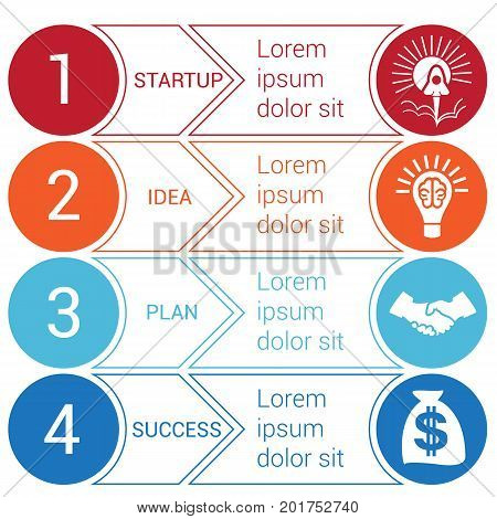 Startup bussines minimal infographic templates from circles and horizontal colorful arrows 4 positions