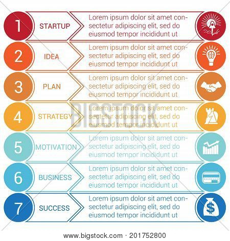 Startup bussines minimal infographic templates from circles and horizontal colorful arrows 7 positions