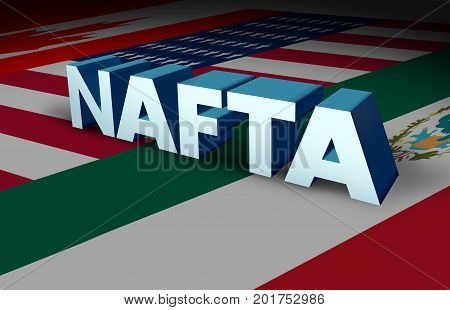 NAFTA agreement or the north american free trade agreement concept as the flags of United States Mexico and Canada as a trade deal negotiation question fot the American Mexican and Canadian governments as a 3D illustration.