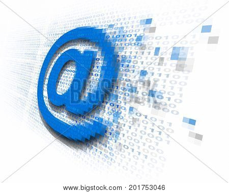 Internet email security technology concept as an at sign icon being encrypted for data transfer protection with binary code background as an online safety icon to protect password and username or reading of personal content in a 3D illustration style.