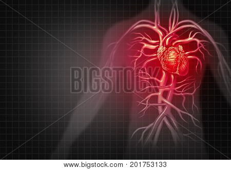Heart attack and chest pain medical cardiovascular disease as an illness of a human circulation organ in a 3D illustration style.