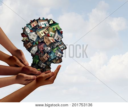 Group Real estate industry agent symbol and home mortgage broker team concept with human hands supporting a group of homes or houses shaped as a human head realtor for a house loan with 3D illustration elements.