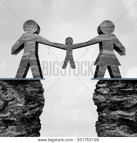 Child custody and parents divorcing family trouble as a an abstract shape of a husband and wife fighting and pulling apart a child as a law and legal disagreement after a separation with 3D illustration elements.