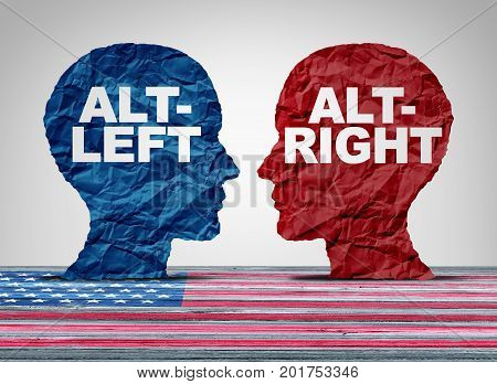 Alt right or altleft concept as a political and social thinking idelogies concept with two sides of opposing ideology debate with 3D illustration elements.