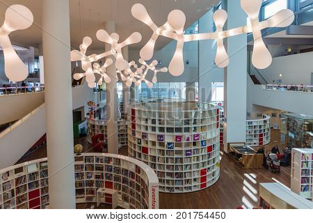 AMSTERDAM NETHERLANDS - APRIL 25, 2017: Interior of Central Public Library on April 25, 2017 in Amsterdam Netherlands.