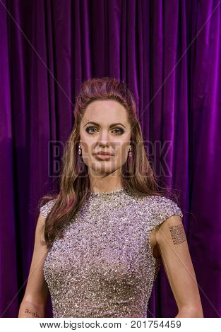 AMSTERDAM, NETHERLANDS - APRIL 25, 2017: Angelina Jolie wax statue in Madame Tussauds museum on April 25, 2017 in Amsterdam Netherlands.
