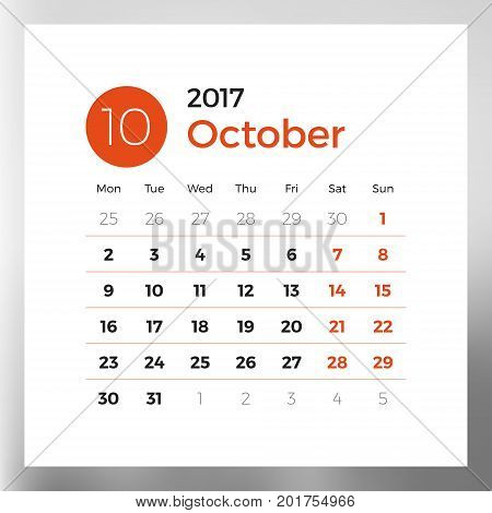 Calendar planner template for October 2017. Week starts on Monday. Design print vector template isolated on color background