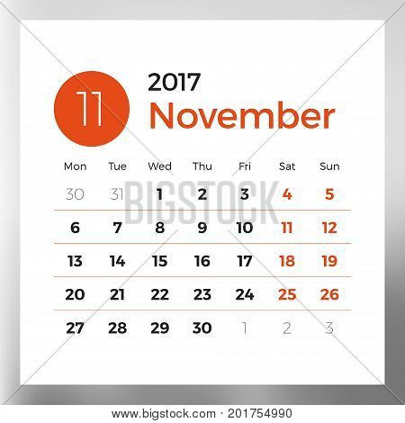 Calendar planner template for November 2017. Week starts on Monday. Design print vector template isolated on color background