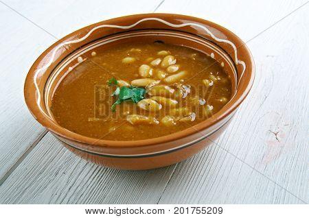 Bob chorba - national Bulgarian dish. close up healthy meal