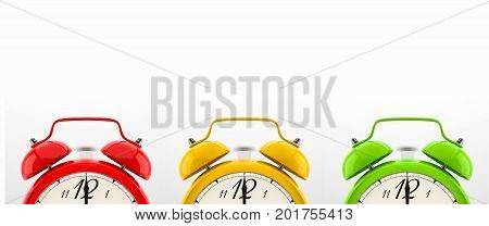 Set of 3 alarm clocks isolated on white background. Vintage style red, yellow, green clock. Graphic design element for flyer, poster, sale. Deadline, wake up, happy hour concept. 3D illustration