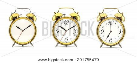 Set of 3 alarm clocks isolated on white background. Vintage style golden clock with clean face, numbers, ringing clock. Graphic design element. Deadline, wake up, happy hour concept. 3D illustration