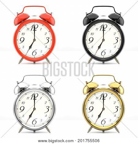 Set of 4 alarm clocks isolated on white background. Vintage style red, black, silver, golden clock. Graphic design element for flyer, poster, sale. Deadline, wake up, happy hour concept. 3D illustration