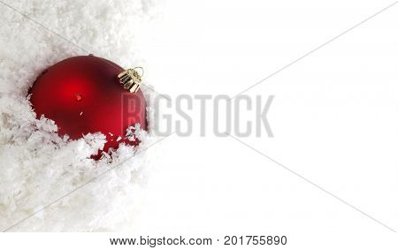 Red christmas balls and chef hat isolated on white background