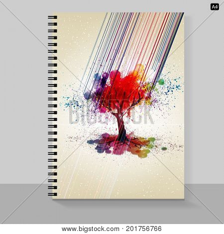 Template cover A4 notebook with grunge tree design.