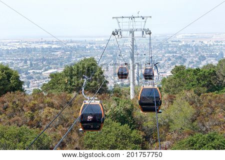 Oakland CA - August 18 2017: Oakland Zoo's highly anticipated aerial gondola and hilltop restaurant The gondola ride now runs to the top of the hill with breathtaking view of the cities below.