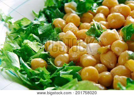 Lebanese Chickpea Balila, close up healthy meal