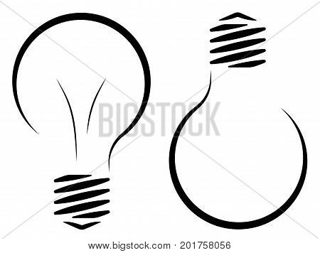 Contour logo of the incandescent lamp. The emergence of an idea or a new invention. Electricity and energy saving. Saving resources