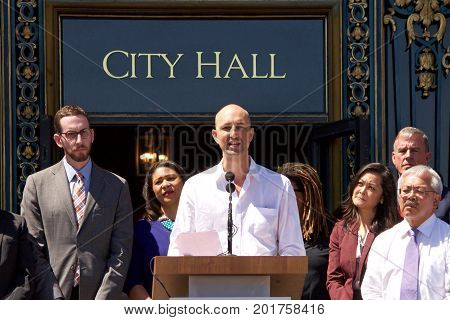 San Francisco CA - August 25 2017: Chris Lejeune brother of Taliesin Namkai-Meche one of two people killed in Portland Oregon train hate crime speaking at the Unite Against Hate rally at Civic Center in front of City Hall