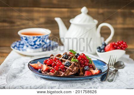 Chocolate Belgium Waffles With Berries