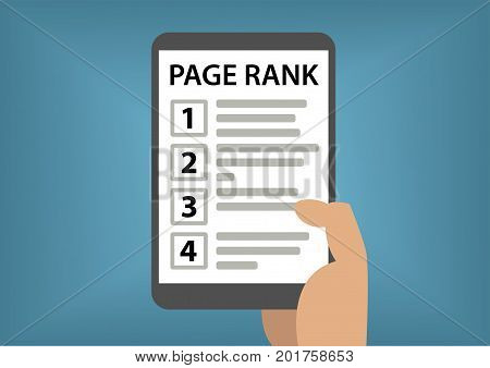 Page rank and search result concept with hand holding smart phone