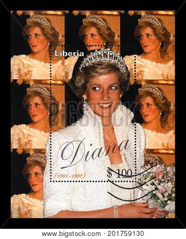 LIBERIA - CIRCA 1997: cancelled stamp printed in Liberia dedicated to the memory of princess Diana, circa 1997. vintage post stamp isolated on black background.