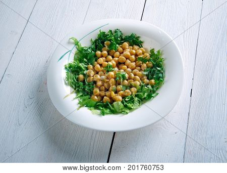 Lebanese Chickpea Balila , close up traditional meal