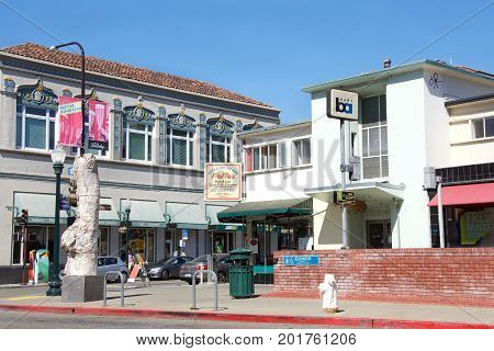 Berkeley CA - August 27 2017: BART station entrance corner of Shattuck and Addison. Bay Area Rapid Transit is a public transportation elevated and subway system serving the San Francisco Bay Area.