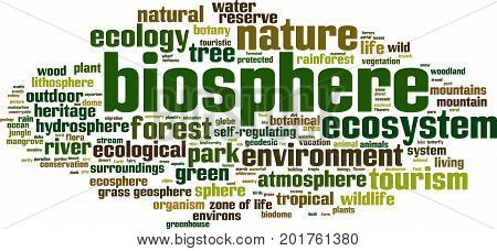 Biosphere word cloud concept. Vector illustration on white