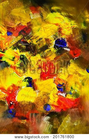 Playing with oil paints and abstract thematic