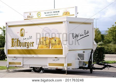 MAINZ, GERMANY - AUGUST 20: A stall and trailer for Bitburger Brewery specialties on a forecourt of a football stadium on August 20, 2017 Mainz.