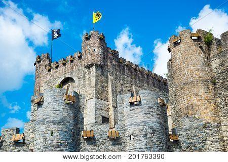 Medieval Castle Gravensteen - Castle Of The Counts In Ghent, Flanders, Belgium.
