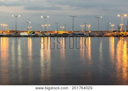 Night seascape of port and beach of Chernomorets, Burgas region, Bulgaria