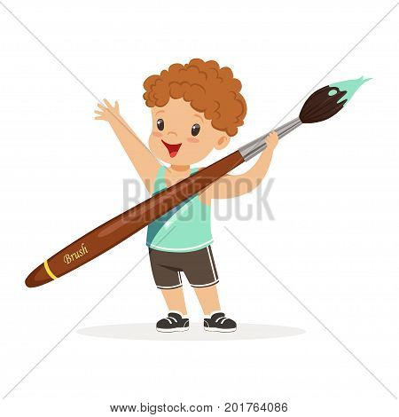 Cute smiling little boy holding giant paintbrush cartoon vector Illustration on a white background
