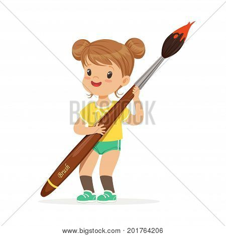 Cute smiling little girl holding giant paintbrush cartoon vector Illustration on a white background